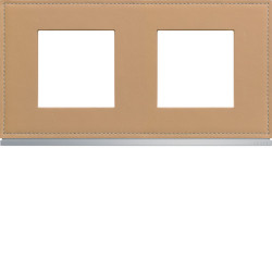 Plaque gallery 2 postes horizontale 71mm matiere cord leather (WXP5112) - HAGER