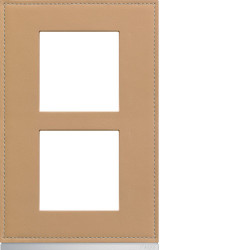 Plaque gallery 2 postes verticale 57mm matiere cord leather (WXP5122) - HAGER