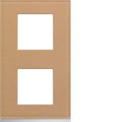 Plaque gallery 2 postes verticale 71mm matiere cord leather (WXP5142) - HAGER