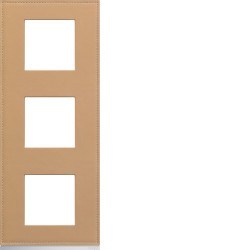 Plaque gallery 3 postes verticale 71mm matiere cord leather (WXP5143) - HAGER