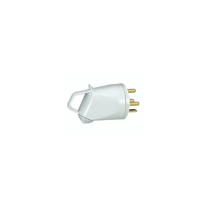 Fiche 2P+T 20A Coudée Blanc - EUROHM