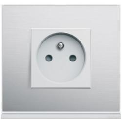 Prise complète Gallery Placage aluminium - HAGER