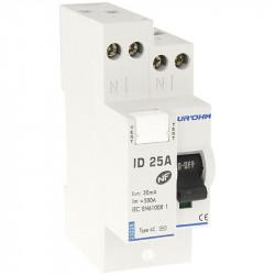 Interrupteur différentiel 25A 1P+N 30mA haut/haut classe AC (23225) - EUROHM