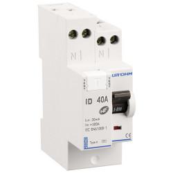 Interrupteur différentiel 40A 1P+N 30mA haut/haut classe A (23340) - EUROHM