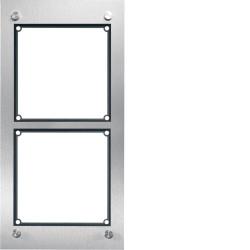 Cadre 2/1, inclus boîtier d'encastrement acier inoxydable mat (REM102X) - HAGER