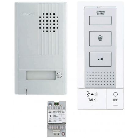 Kit portier audio 2 fils mains-libres avec platine alu saillie et transfo (118712) - AIPHONE