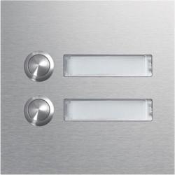 Module d'appel 2 boutons poussoirs rond avec porte-nom LED (REN002X) - HAGER
