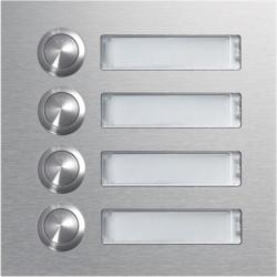 Module d'appel 4 boutons poussoirs rond avec porte-nom LED (REN004X) - HAGER