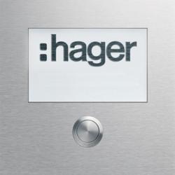Module d'appel 1 bouton poussoir rond avec affichage LED (REN009X) - HAGER