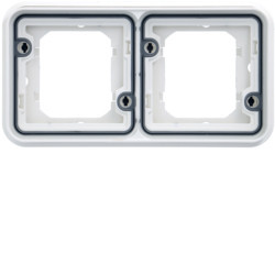 cubyko Support d'encastrement double horizontale associable blanc IP55 (WNA402B) - HAGER
