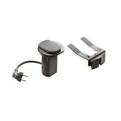 Module de bureau encastré avec 1 prise 2P+T et chargeur USB noir (054056) - LEGRAND