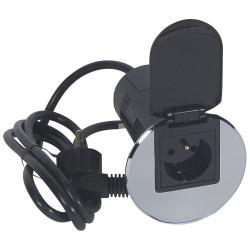 Module de bureau encastré avec 1 prise 2P+T et chargeur USB métal (054057) - LEGRAND