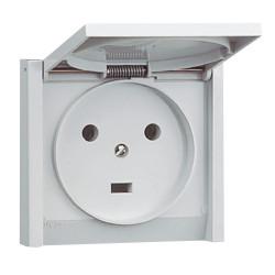Prise de courant 2P+T 20A à fixer sur boîte diamètre 67mm Plexo complet IP44 encastré gris (055703) - LEGRAND