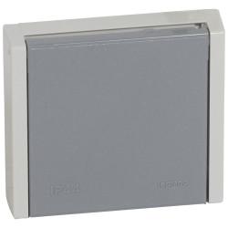 Prise de courant 3P+T 20A à fixer sur boîte diamètre 67mm Plexo complet IP44 encastré gris (055706) - LEGRAND