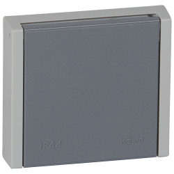 Prise de courant 3P+N+T 20A à fixer sur boîte diamètre 67mm Plexo complet IP44 encastré gris (055708) - LEGRAND