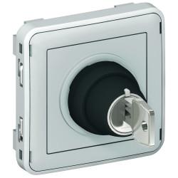 Interrupteur à clé Ronis n°455 2 positions Plexo composable IP55 3A 250V gris (069534) - LEGRAND