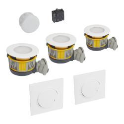 Kit Modul'up avec 3 boites Modul'up + 3 spots IP44 + 1 micromodule + 2 commandes dooxie sans fil blanc (088555) - LEGRAND