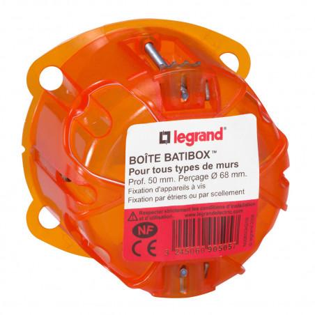 Boîte à encastrer Batibox multimatériaux 1 poste profondeur 50mm (090505)