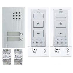 Kit Audio Platine Alu Saillie 2Bp, 2 P.Maîtres Mains-Libres Et 2 Transfos
