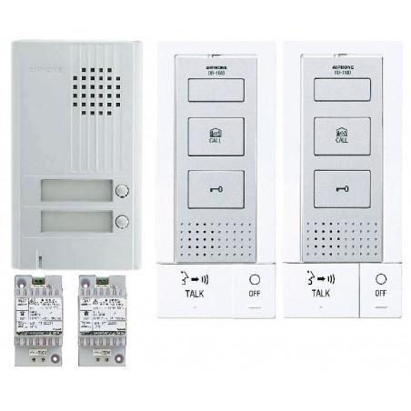 Kit Audio Platine Alu Saillie 2Bp, 2 P.Maîtres Mains-Libres Et 2 Transfos - AIPHONE