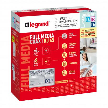 Coffret de communication full media coax-rj grand logement (093077)