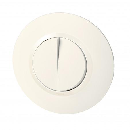 Double interrupteur ou va-et-vient dooxie 10AX 250V~ livré avec plaque ronde blanche et griffes (095051)