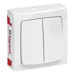 Double interrupteur ou va-et-vient Appareillage Saillie Blanc (097602) - LEGRAND