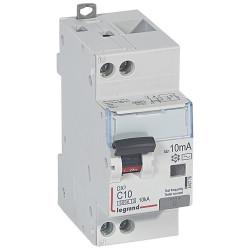 Disjoncteur différentiel monobloc DX6000 10kA arrivée haute et départ bas à vis U+N 230V~ 10A typeAC 10mA (410778) - LEGRAND