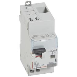 Disjoncteur différentiel monobloc DX6000 10kA arrivée haute automatique départ bas vis U+N 230V~ 25A typeAC 30mA (410803) - LEGRAND