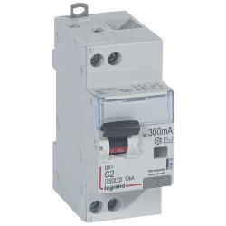 Disjoncteur différentiel monobloc DX6000 10kA arrivée haute et départ bas à vis U+N 230V~ 2A typeAC 300mA (410810) - LEGRAND