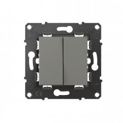 Double interrupteur ou va-et-vient Altège 10A avec connexion à bornes automatiques finition Nuage (BTAL02CD) - LEGRAND