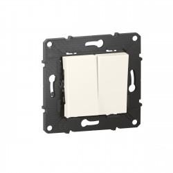 Poussoir 6A + Interrupteur ou va-et-vient Altège 10A avec connexion à bornes automatiques finition Neige (BTAL05DD) - LEGRAND