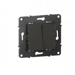 Poussoir 6A + Interrupteur ou va-et-vient Altège 10A avec connexion à bornes automatiques finition Nuit (BTAL05SD) - LEGRAND