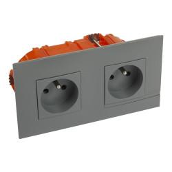 Kit prise de courant double precablee fb 2x2p+t bornes auto nuage + boite (BTAL22CK) - LEGRAND