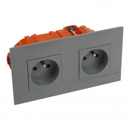 Kit prise de courant double precablee fb 2x2p+t bornes auto nuage + boite (BTAL22CK)