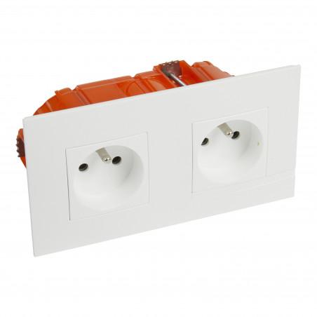 Kit prise de courant double precablee fb 2x2p+t bornes auto neige + boite (BTAL22DK)