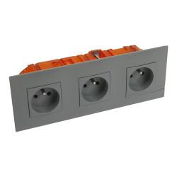 Kit prise de courant triple precablee fb 3x2p+t bornes auto nuage + boite (BTAL23CK) - LEGRAND