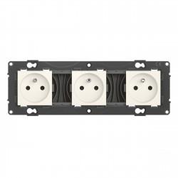Triple prise de courant précâblée Altège 16A avec connexion à bornes automatiques finition Neige (BTAL23DD) - LEGRAND