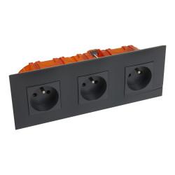 Kit prise de courant triple precablee fb 3x2p+t bornes auto nuit + boite (BTAL23SK) - LEGRAND