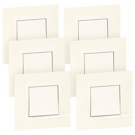 Lot de 6 interrupteurs ou va-et-vient Altège 10A livrés avec plaques finition Neige (BTAL61DL)