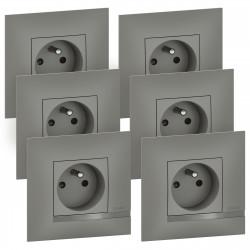 Lot de 6 prises de courant Altège 16A avec connexion bornes automatiques livrés avec plaques finition Nuage (BTAL62CL) - LEGRAND