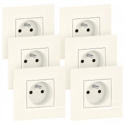 Lot de 6 prises de courant Altège 16A avec connexion bornes automatiques livrés avec plaques finition Neige (BTAL62DL) - LEGRAND