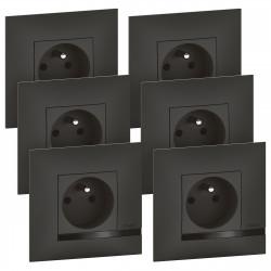Lot de 6 prises de courant Altège 16A avec connexion bornes automatiques livrés avec plaques finition Nuit (BTAL62SL) - LEGRAND