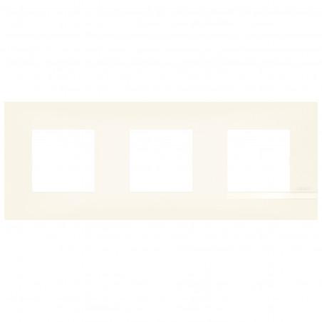 Plaque Altège Collection Classico 3 postes finition Neige blanc satiné avec liseré blanc brillant (BTAL9NE3)