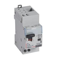 Disjoncteur différentiel monobloc DX6000 10kA arrivée haute automatique départ bas vis U+N 230V~ 16A typeAC 30mA (410801) - LEGRAND