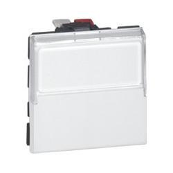 Poussoir Inverseur Mosaic - 2 Mod - Porte-Étiquette - 6 A - Blanc (077043)