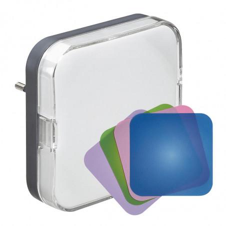 Veilleuse à LED avec détecteur crépusculaire livrée avec 4 étiquettes de couleur unie et 1 papier personnalisable (050673)